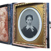 SOLD Lovely Antique Daguerreotype Young Lady Embossed Case, pretty detail