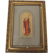 SOLD Stunning Victorian Lithograph, Possibly Hand Colored, Angel W/Trumpet Fra Angelico, Origi