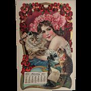 Rare 17 x 10 1900 Calendar Cats & Telephone Art Nouveau Color Litho Girl Embossed Advertising