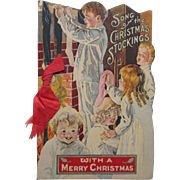 SOLD C1920 Scarce Die Cut Christmas Novelty Book SONG OF THE CHRSITMAS STOCKINGS Santa Claus w