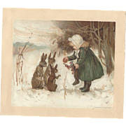 SOLD Scarce 1886 Louis Prang Victorian Trade Card Girl Gives Christmas Stocking contents to ra