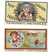 SALE Lovely Pair Victorian Color Litho Advertising Labels New England Mince Meat, Children, ..