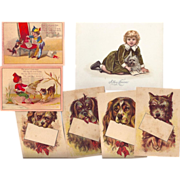 Too Cute Group of Victorian Trade Cards & a Greeting cards, Children w/Dogs!