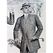 SOLD 1913 Vintage Salesman's Sample Page Golf Print Catalog Edwardian Men's Clothing Downton A