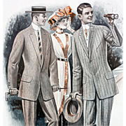 Antique Advertising 1913 Men's Suits Catalog Page Horse Races Huge Print