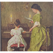 Antique Advertising 1915 Calender Parma, Idaho Mother Daughter at Piano Artist James Day