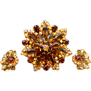 Magnificent Juliana  Rhinestone Brooch and Earrings 1960s Fancy Flash
