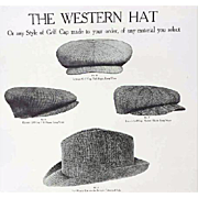 Antique Print Men's The Western Golf Hats Salesman Sample 1913 Catalog Page