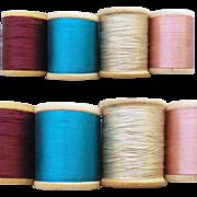 SOLD 4 Vintage Silk Thread on Wooden Spools Burgundy Blue Beige Pink