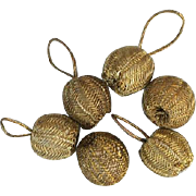 SOLD Six Gold Bullion Antique Buttons or Dress Accent Baubles Doll Size Sewing Notions