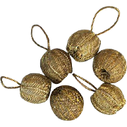 Six Gold Bullion Antique Buttons or Dress Accent Baubles Doll Size Sewing Notions