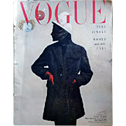 Vintage Vogue Magazine October 1949 Adrian Fashion Jewelry Advertising Original
