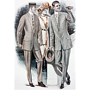 Antique Clothing Catalog Advertising 1913 Men's Suits Horse Races Huge Print