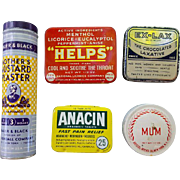 SALE 5 Vintage Tins Advertising Drug Store Medical Pharmacy Medicine Old