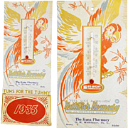 1935 Thermometer Calendar Pharmacy Kuna Idaho TUMS Advertising