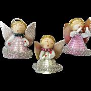 SALE Vintage Chenille Christmas Angels Spun Cotton Japan