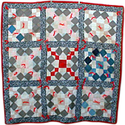 Vintage Quilt Antique 1900's Fabric Quilt Top Blocks Finished 1980