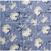 """1940s Vintage Upholstery Sewing Fabric Blue With White Floral 36"""" Wide"""