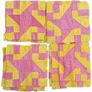 Very Old Pin Wheel Quilt Blocks / Squares Pink Yellow 1930s - 1940s