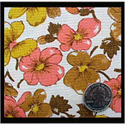Coral Floral Vintage Cotton Sewing Fabric 2 yards x 36 inches Autumn
