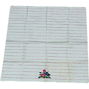 Vintage Cotton Ticking Tea Towel With Morning Glory Flowers