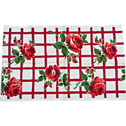 Vintage Kitchen Tea Towel Red Roses Very Old Cotton