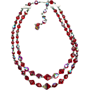 1960s Swarovski Red Crystal Necklace Double Strand