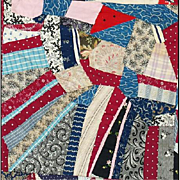 SALE Rare Very Large Antique Cotton Crazy Quilt 1870 - 1890 Textile Art