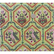 1940s Vintage Cotton Fabric 9 + yards Barkcloth Green Burgundy Birds