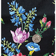 SALE Vintage Cotton Sewing Fabric 3-1/4 Yards Beautiful Floral on Black Drapes Upholstery