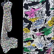 4 Yards Amazing Vintage Silk Sewing Fabric Oriental Pagoda Print