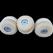 SALE Vintage 1940s Cotton Crochet Tatting Thread France 3 Skeins