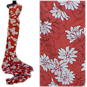 1940s Vintage Cold Spun Rayon Fabric 4 + Yards Vivid White Flowers