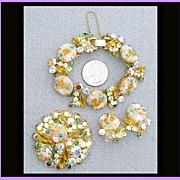 SOLD Juliana Easter Egg Rhinestone Parure Bracelet Earrings Brooch De Lizza & Elster