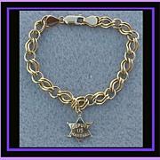 SOLD 14k Gold Charm Bracelet 14k Gold Deputy U.S. Marshal Badge Charm Western Theme