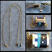 SOLD 14k Gold Necklace 7.4 Grams Semi Precious Stone Enhancer Turquoise Amethyst