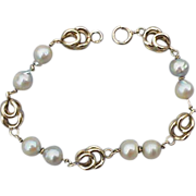 Vintage Chunky 14k Yellow Gold Bracelet with Real Pearls 15.6 Grams