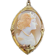 SALE PENDING Real Shell Cameo Necklace 10kt Gold Black Hills  Setting Goddess Diana