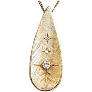 SOLD 14K Yellow Gold and Diamond Necklace 1960s Modern Pendant
