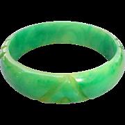 Carved Marbled Green Bakelite Bangle Bracelet Vintage Tested