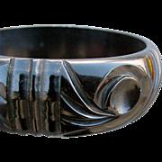Beautiful Carved Domed Black Bakelite Bangle Bracelet