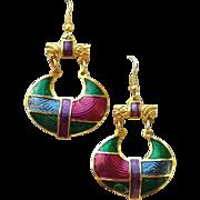SALE Vintage Designer Berebi Earrings Jewel Tones Pierced