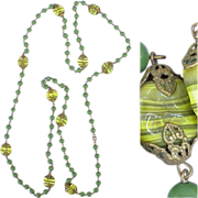SALE Gorgeous Long Vintage Necklace Green & Yellow Art Glass Beads