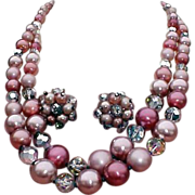 1960s Vintage Crystal and Bead Necklace Demi  Parure Mid Century
