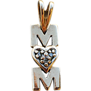 10K Yellow Gold Pendant or Charm with Diamonds for Mom Valentine's Day