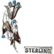 1940s Exotic Sterling Silver Brooch With Blue Rhinestones Hefty 15.5 Grams