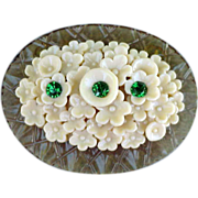 Early Celluloid Brooch Creamy Flowers Rhinestones Layered Construction Downton Abby Era