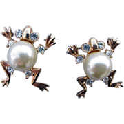 Scatter Pins Pearly Frog Brooches Fat Faux Pearl Belly Rhinestones