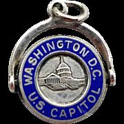 SALE Sterling Silver Blue Enameled Travel Charm Washington D.C. Capitol Moves