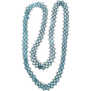 SALE Vintage 1920s Style Long Loom Beaded Necklace Blue Beads